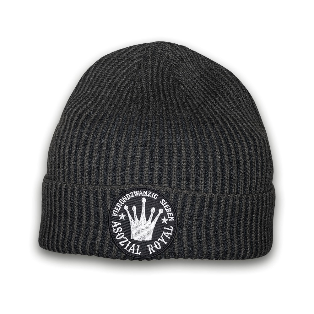 "Ripped Beanie Asozial Royal ""24/7"""