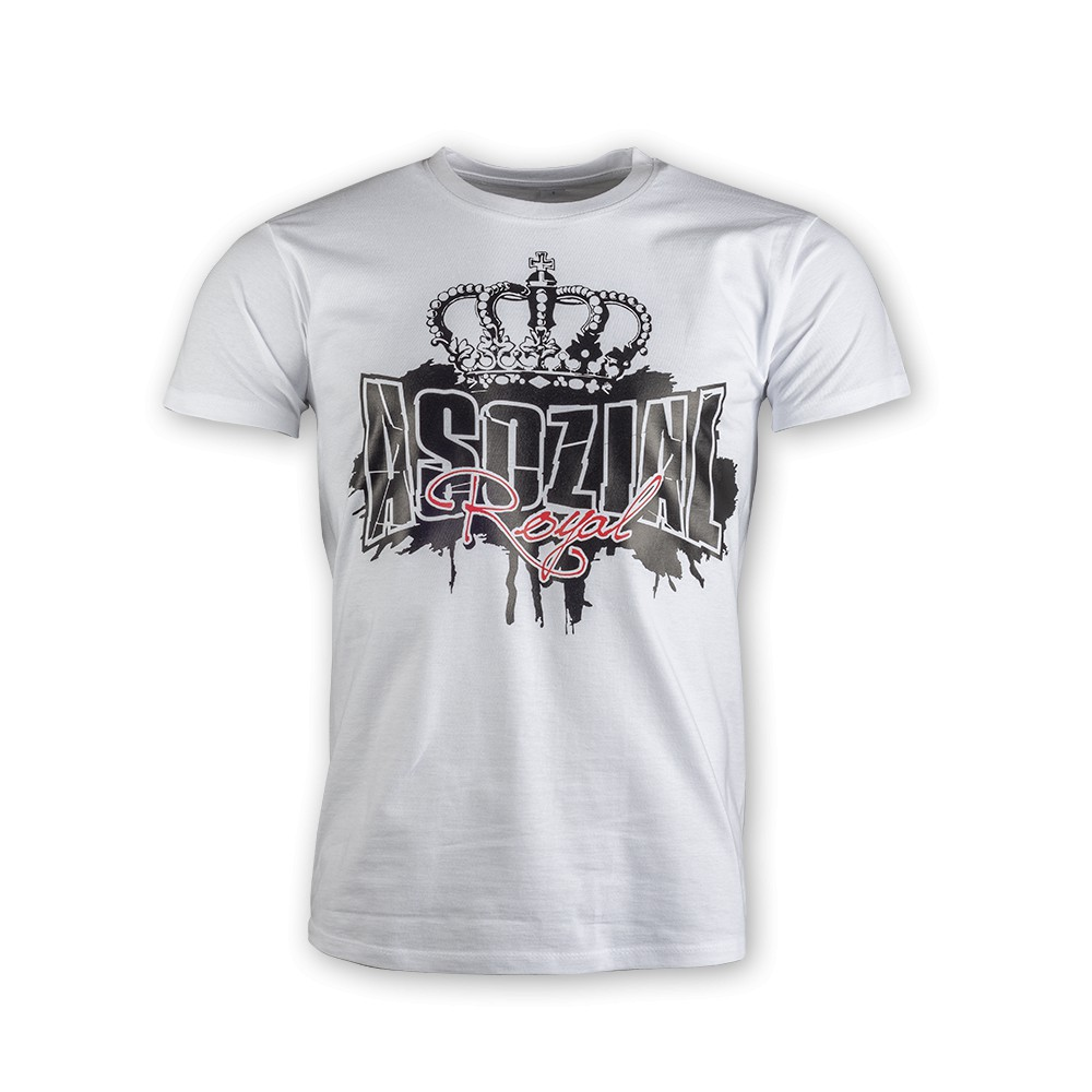 "T-Shirt Asozial Royal ""Crown"" weiß"