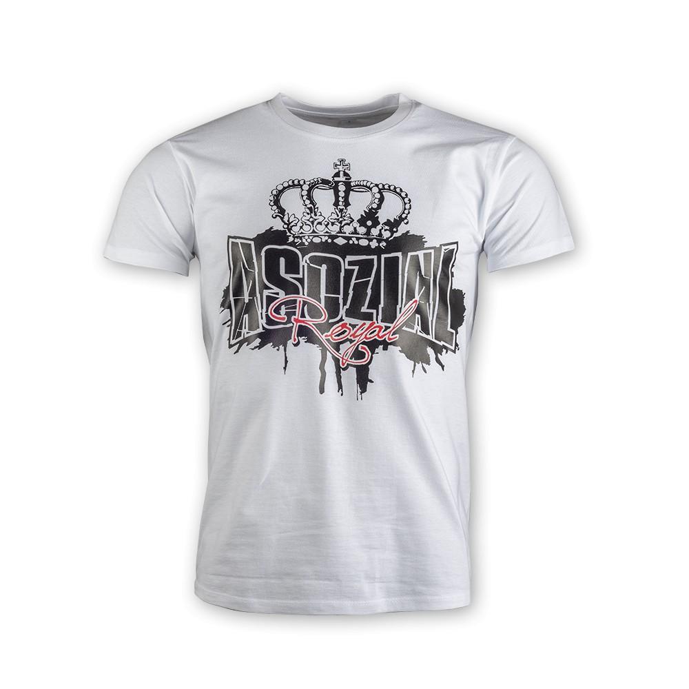 """T-Shirt Asozial Royal """"Crown Royal"""" weiß"""