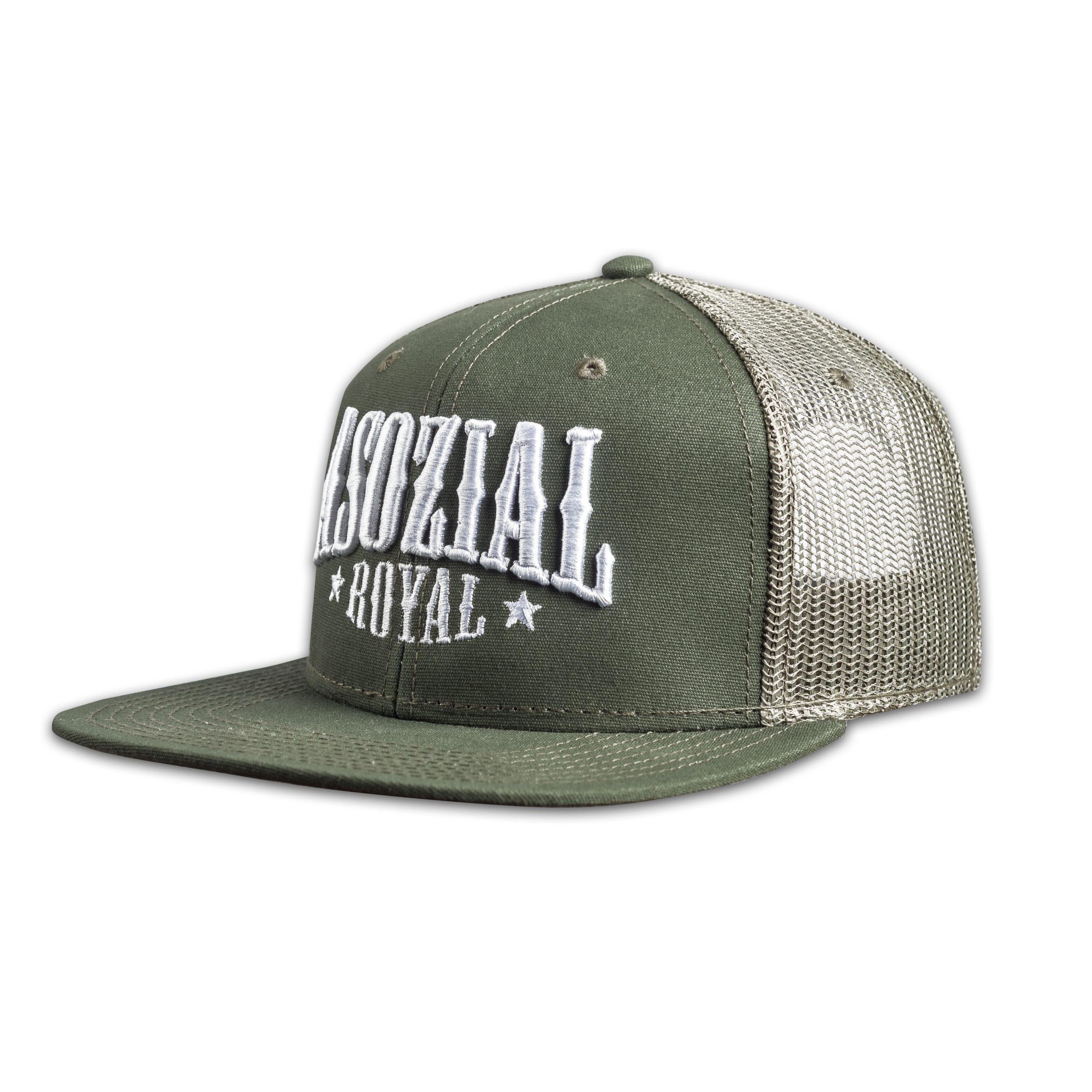Trucker-Snapback Mesh Asozial Royal Schwarz