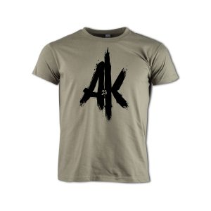 T-Shirt-khaki-AK-23-Logo-schwarz