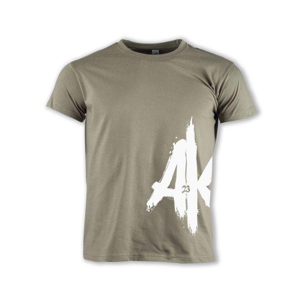 T-Shirt-khaki-AK-23-Logo2-weiss